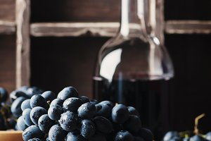 Fresh grape and red wine