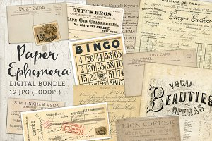 Antique Paper Ephemera Bundle of 12