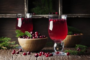 Fresh red cranberry juice