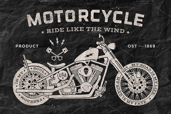 vintage motorcycle old school style illustrations. Black Bedroom Furniture Sets. Home Design Ideas