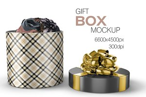 Cylindrical Gift Box Mockup