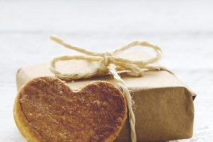Heart cookie and gift package
