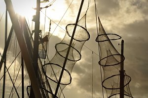 Fishing nets hanged on the mast