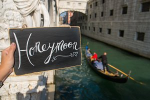 Honeymoon sign. Venice. Europe