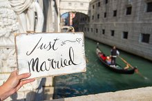 Just Married sign. Venice. Europe