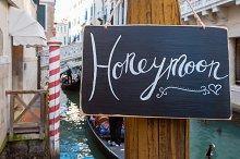 Honeymoon sign. Venice. Europe