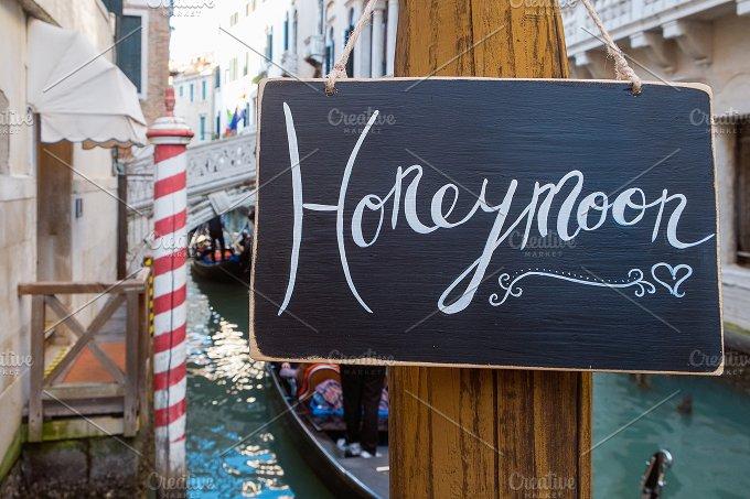 Honeymoon sign. Venice. Europe - Holidays