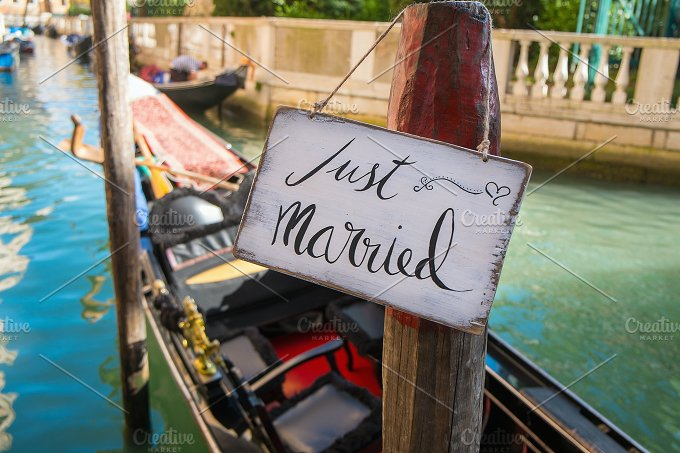 Just Married sign. Venice. Europe - Holidays
