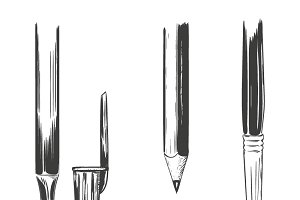 Set of drawing and writing tools