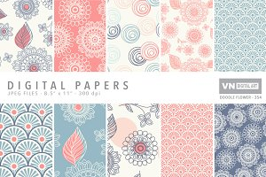Digital Papers - Doodle Flower -354