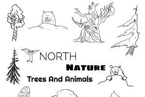 North doodle animals and trees set