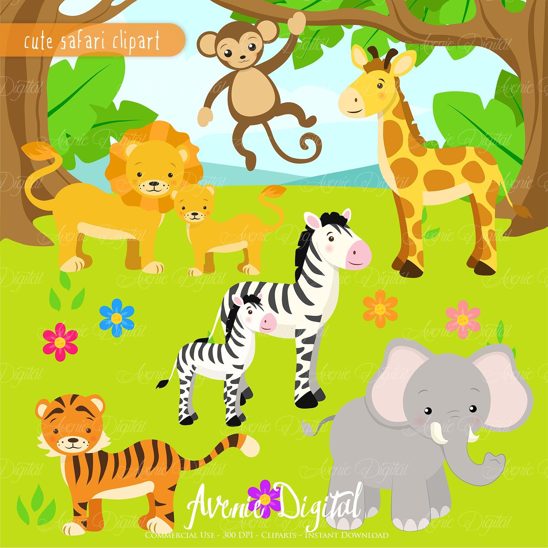 Cute Safari Animals Clipart + Vector ~ Illustrations ...