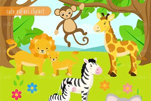 Cute Safari Animals Clipart + Vector