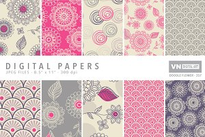 Digital Papers - Doodle Flower -357