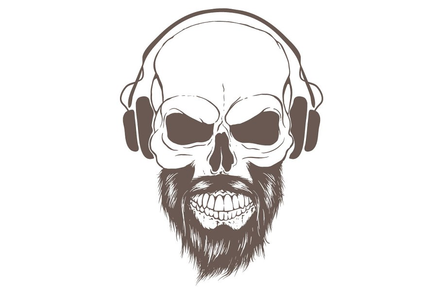 Skull In Headphones Listen A Music Pre Designed Illustrator Graphics Creative Market