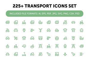 225+ Transport Icons Set