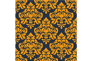Orange colored floral arabesque seam