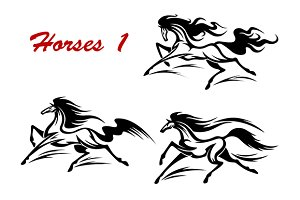 Horse stallions mascots and tattoos