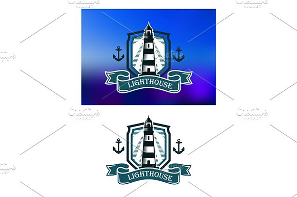 Marine banner with lighthouse and an