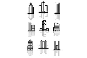 Skyscraper and office building icons