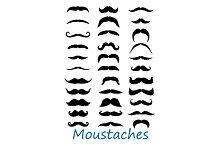 Moustache icons set