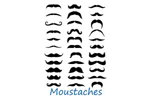 Moustache icons set
