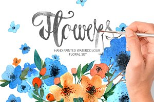 Blue flower weddings set