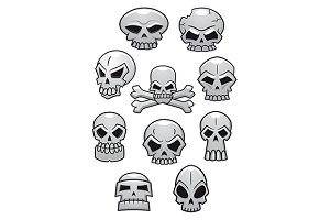 Cartoon Halloween skulls