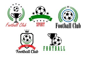 Football and soccer symbols or emble