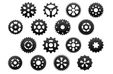Gears and pinions silhouettes set