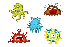 Cartoon monsters and evils set
