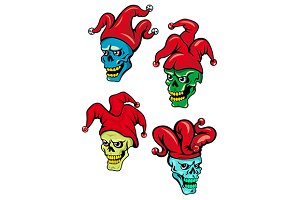 Cartoon clown and joker skulls