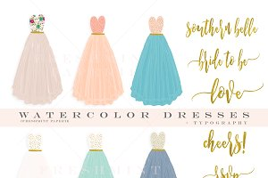 watercolor dress pretty clipart set