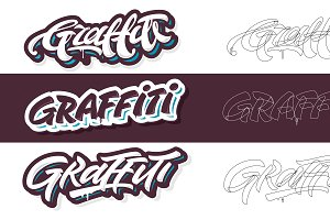 Four graffiti letterings