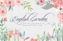English Garden Watercolor clipart