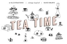 Vintage Tea Party Vector Drawings