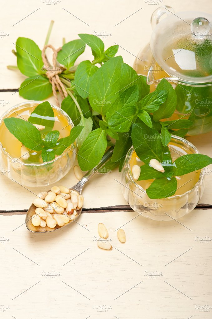 Arab middle east mint tea and pine nuts 027.jpg - Food & Drink