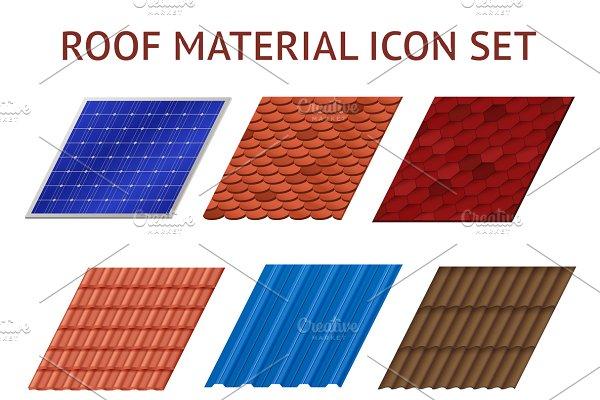 Fragments of roof tile images set