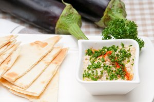 Baba Ghanoush eggplant dip and pita bread 12.jpg