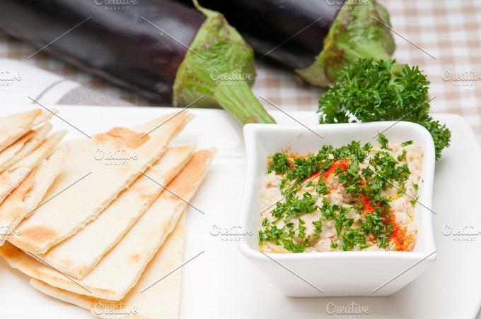 Baba Ghanoush eggplant dip and pita bread 12.jpg - Food & Drink