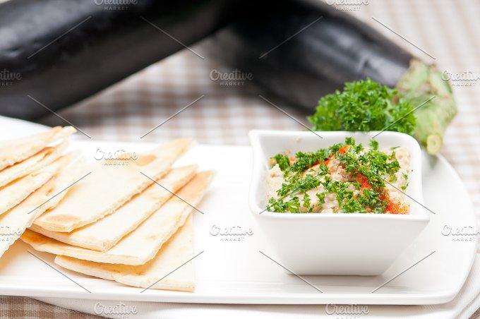 Baba Ghanoush eggplant dip and pita bread 06.jpg - Food & Drink