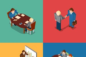 Isometric 3D business people icons