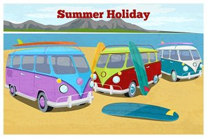 Surfer van poster summer holiday
