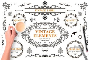 Set of Vintage Decorations Elements
