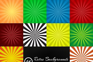 Set of 14 retro ray backgrounds