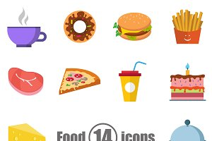 Food set of 14 icons in a flat style