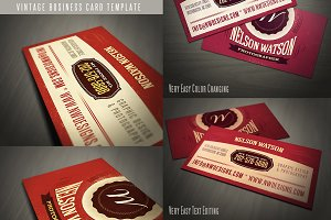 Retro Business Card Template 02