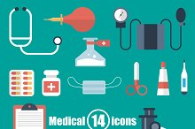 Medical set of 14 icons