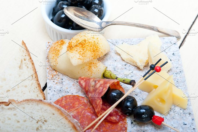 cold cut snack on stone 060.jpg - Food & Drink