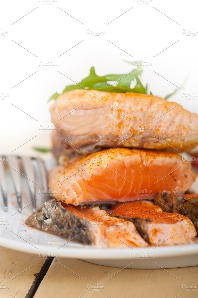 grilled salmon filet with vegetables 002.jpg - Food & Drink